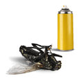Insecticide spray bottle with dead fly can and on white background isolated Stock Photo