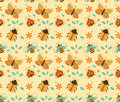 Insects pattern seamless vector of in retro styled Royalty Free Stock Image