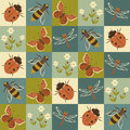 Insects seamless pattern colorful with Royalty Free Stock Photography