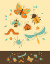 Insects set of in retro styled Royalty Free Stock Photos