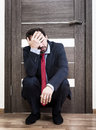 Insecure man waiting for a job interview Royalty Free Stock Photo