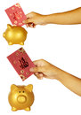 Insert red envelope into piggy bank set of hand holding want to Stock Photography