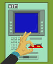 Insert and remove ATM card Royalty Free Stock Photo