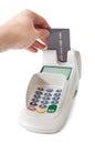 Inserting credit card into bank terminal Royalty Free Stock Photo