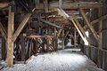 Inside of an abandoned Arctic coal mine buildings in Longyearbye Royalty Free Stock Photo