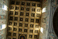 Inside abbey farfa benedictine of santa maria di coffered wooden ceiling Stock Photography