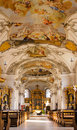 Inside a baroque church beautiful in germany bavaria spalt beautiful golden altars and frescoes on the ceiling Stock Images