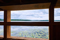 Inside a birdwatch shed looking out over lake sjaelsoe in denmark from within Royalty Free Stock Images