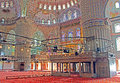 Inside the Blue Mosque Sultanahmet Camii in the evening, Istanbul Royalty Free Stock Photo
