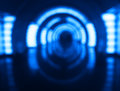 Inside blue spaceship bokeh background