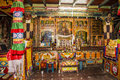 Inside the bon monastery temple of yung drung kundrak ling near ravangla india relegion is older than buddhism and has left it s Stock Photo
