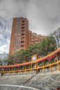 Inside bull fighting arena with appartments around de toros of bogota called la santamaria appartment skyscrapers aroundwith Royalty Free Stock Images