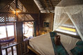 Inside of Bungalow or traditional Thai wooden house. Thailand Royalty Free Stock Photo