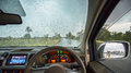 Inside car view on the rainy day Royalty Free Stock Photo