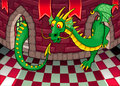 Inside the castle with dragon cartoon and vector illustration Royalty Free Stock Photos