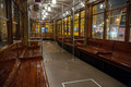 Inside classic tram in Milan, Italy Royalty Free Stock Photography