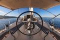 Inside the cockpit of sailing yacht Royalty Free Stock Photo