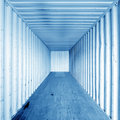 Inside the container cargo interior old obsolete cargo with rusty walls Royalty Free Stock Photography