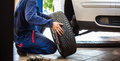 Inside a garage - changing wheels/tires Royalty Free Stock Photo