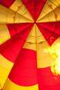 Inside of Hot air balloon with burning flame Royalty Free Stock Photography