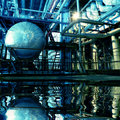 Inside a Industrial Power Plant with reflection Royalty Free Stock Photo