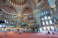 Inside the islamic Blue mosque in Istanbul Royalty Free Stock Photos