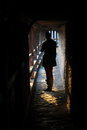 Medieval sword silhouette at backlighting