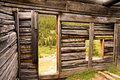 Inside of a Miner's Log Cabin Royalty Free Stock Photos