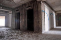 Inside of old abandoned building with construction unfinished. Royalty Free Stock Photo