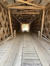 Inside Old Covered Wooden Bridge
