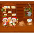 Inside the old cozy wooden village house. Home furnishing. Santa`s helpers read letters. Sketch of Christmas festive