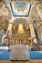 Inside of orthodox church details and icons Stock Image