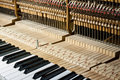 Inside the piano a removed baffle can see all internal structure Royalty Free Stock Photography