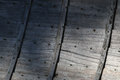 Inside rowboat the of an old showing the grey planks Royalty Free Stock Photo