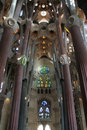 Inside Sagrada Familia, amazing cathedral by Gaudi Stock Images