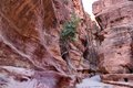 Inside the siq gorge petra red sandstone walled at Stock Photography