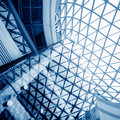 Inside transparent glass ceiling modern architectural interior Stock Photography