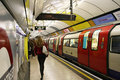 Inside view of the London underground Stock Photography