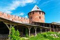 Inside walls of the Kremlin in Veliky Novgorod Royalty Free Stock Photo