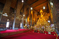 Inside wat pho temple in bangkok thailand Stock Photo