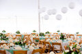 Inside a wedding tent Royalty Free Stock Image