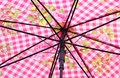 Inside workings of parasol photo the a umbrella with pink gingham design pattern Stock Photo