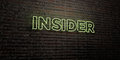 INSIDER -Realistic Neon Sign on Brick Wall background - 3D rendered royalty free stock image