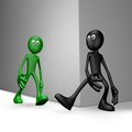 Insidious black guy tries get green guy to stumble d illustration Stock Photo