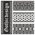 Insieme degli ornamenti gotici in bianco e nero senza giunte Fotografia Stock