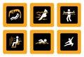 Insieme dei pittogrammi di Spa&Wellness sul nero II Immagine Stock