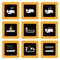 Insieme dei pittogrammi di Wellness&Spa sul nero I Immagine Stock Libera da Diritti