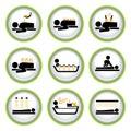 Insieme dei tasti del pittogramma di Wellness&Spa I Immagini Stock Libere da Diritti