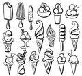 Insieme di simboli del gelato Immagine Stock