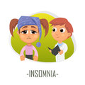 Insomnia medical concept. Vector illustration.